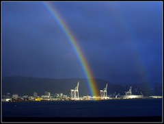 Where's Wellington's pot of gold? (W J (Bill) Harrison) Tags: ocean sea newzealand sky storm rain weather coast rainbow sand sony nz wellington picnik potofgold flickrlovers