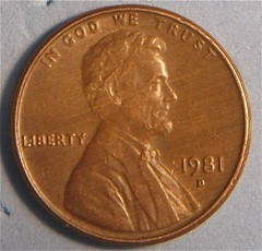 1981D Lincoln Cent Woodgrain