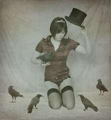 The Prestige (horriblecherry) Tags: tiara girl hat birds vintage top magic cloning victorian ups backdrop crow raven hold magician duplication
