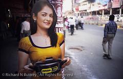 Cut and Paste (Richard Buttrey) Tags: india advertising lomo lca lomography fuji cut delhi paste cardboard advert figure provia lightroom 100f chandni chowk