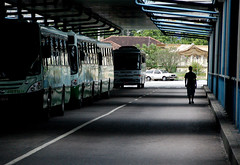 II (steph_ie) Tags: light shadow man bus station contraluz walking stephaniebastos