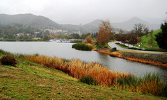 a lake in thousand oaks (wecandancetonight) Tags: california lake mountains water beauty river scenery colorful country calabasas overcasst