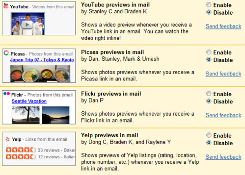 Previews in Gmail