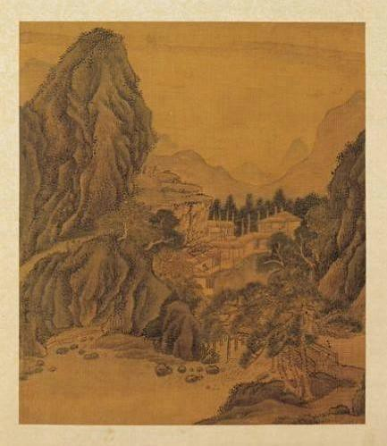 on fan kuans travelers among mountains Fan kuan landscape, travelers among mountains and streams, northern song period, early 11th century hanging scroll, ink and colors on silk, 6' 7 3/4 x 3' 4 1/4.