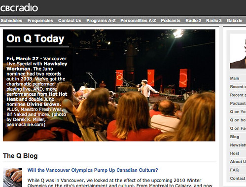 CBC Q home page with Derek's photo - closeup