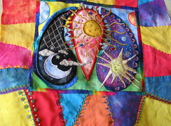 Celestial Paisley CQ (cymberrain) Tags: pink blue red orange sun moon color art sol yellow clouds lune stars rouge soleil colorful noir purple needlework felting embroidery sewing workinprogress hippy tapis wip funky needlefelting patchwork nuage paisley applique couture crazyquilt embellished etoile couleur handstitched dyed celestial celeste creations wallhanging handdyed fiberarts broderie saturatedcolor artsplastiques fancywork brightcolored paintingonfabric couleursvives fancyneedlework loisirscreatifs celestialpaisleys stitchbyhand