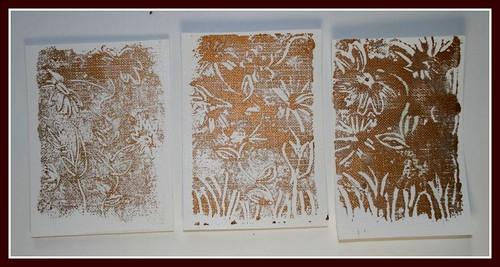 flower monoprint atcs - help!