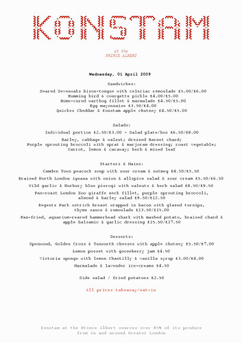 Konstam April Fools Menu