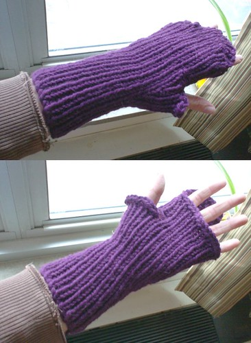 Closeup of warm purple fingerless mittens