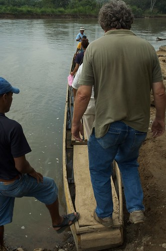 Boarding the canoe.