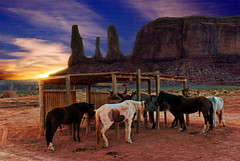 Monument Valley Stables (mojo2u) Tags: sunset arizona horses southwest utah desert redrock monumentvalley monolith hdr stables navajotribalpark photomatix the3sisters nikon1855mm nikond80