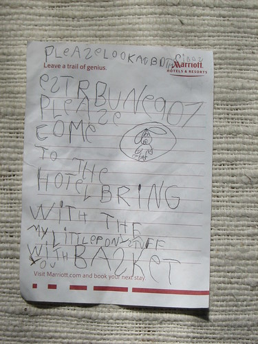 Elizabeth's 2008 note to the Easter Bunny