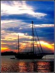 Sailing in Paradise, Sunset in Mykonos, Greece (moonjazz) Tags: travel sunset sea sky nature clouds greek harbor still paradise sailing ship quiet peace aegean tourist calm adventure explore greece harmony mast bliss mediterrean supershot