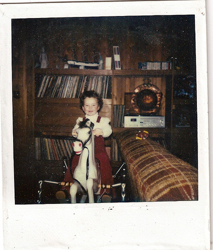 Found Polaroid: rocking horse girl