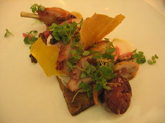roast rabbit with shiso, turnip, pickled ramps, mustard tuile and blood sausage