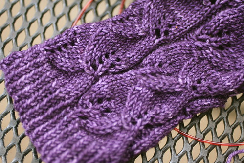 Embossed Leaves in Malabrigo Sock yarn 'Violetas Africanas'
