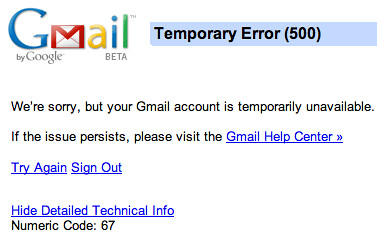Gmail Down Again
