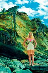 lisa (SARA LEE) Tags: california woman colour green beach girl clouds standing model dress photoshoot surreal lisa blonde laguna oc lagunabeach lisah buffaloexchange sarahlee legothenego vivantvie