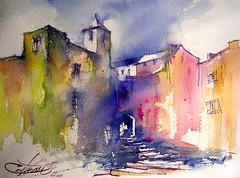 vieux village / Old village in France (chrisaqua47) Tags: sun france art watercolor painting landscape soleil aquarelle peinture acuarela paysage acquerello