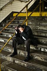Despairing in the subway, NYC (jbmurp01) Tags: bank wallstreet banks loan tarp finance bankrupt loans goldmansachs stockmarketcrash bailout bearsterns financialbreakdown