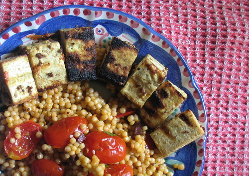 barbecue tofu and israeli couscous