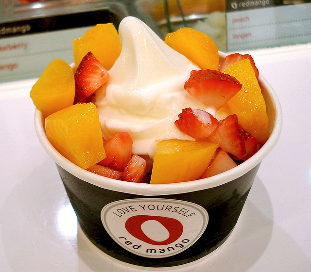 Original flavour yoghurt with strawberries and peaches