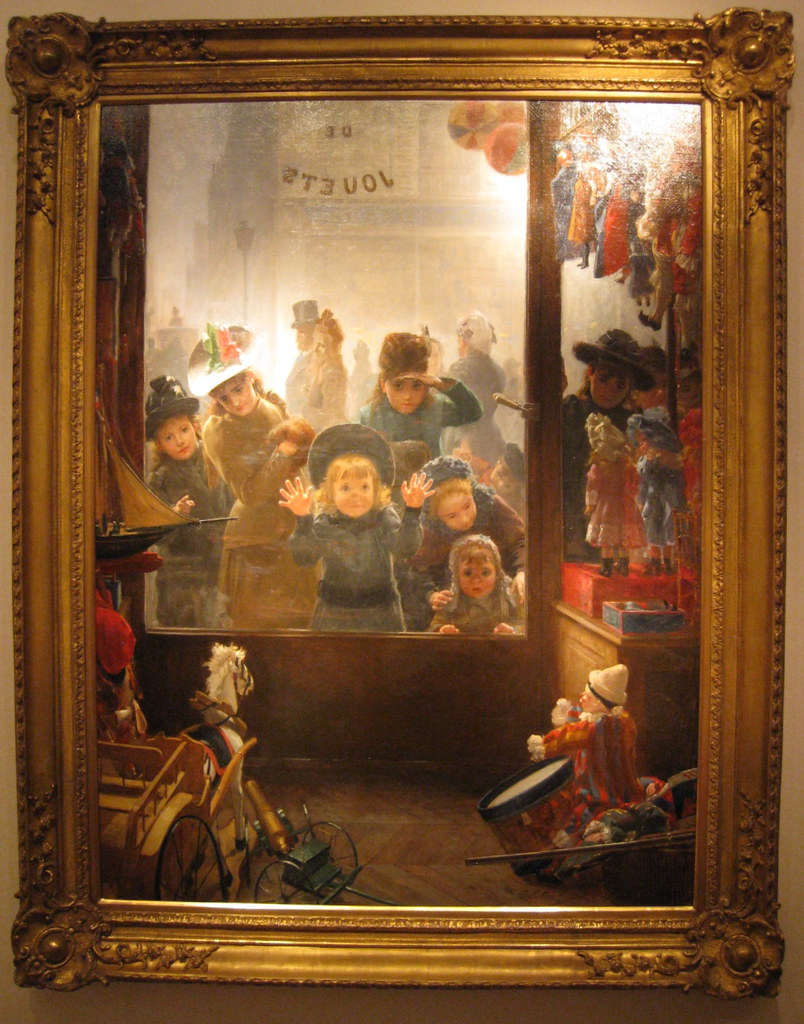 Tomoléon Lobrichon (French, 1831-1914) The Toyshop Window. Oil on canvas. 44.5 by 33.5 in. Walker Galleries, North Yorkshire.