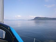 Calm seas off Rhum
