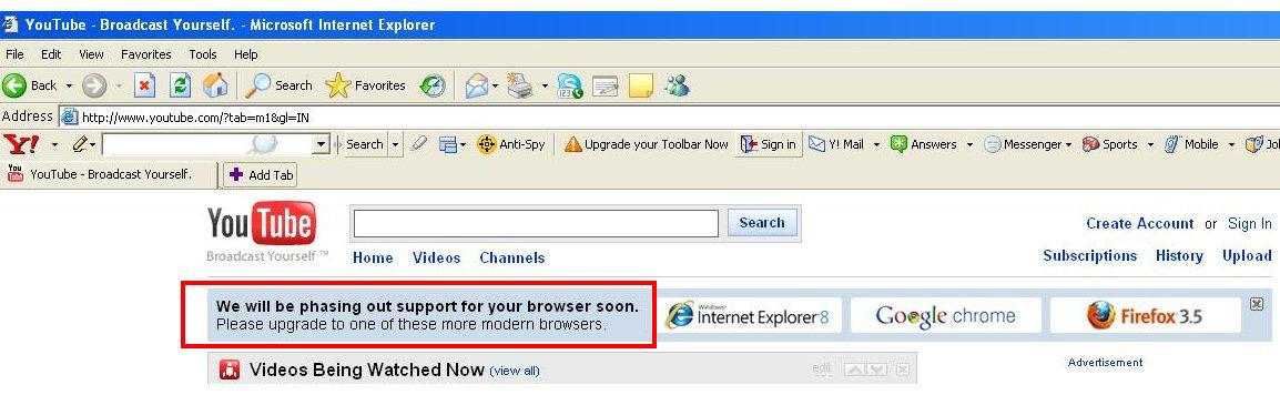 Youtube stops IE6 Support