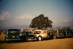 Views of the USSR President Marshal Kliment Voroshilov visit to Nepal - 1960 - VW and Willis Jeep (Mike Leavenworth) Tags: nepal color tree vw jeep slide kodachrome marshal ussr kliment voroshilov tundikhel