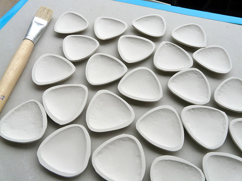 Porcelain beads in progress - hollow halves