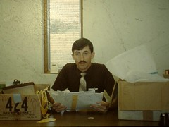 Dan Steffen in office (Douglas Coulter) Tags: 1987 mbc vacationbibleschool mortonbiblechurch