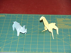 maekawa rhino and engle giraffe (xaoslord) Tags: japan origami traditional paperfolding