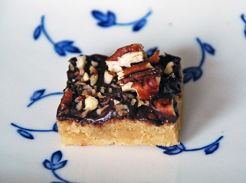 toffee square, on flowered plate