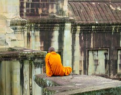 Monk in Angkor Wat (Py All) Tags: orange heritage stone temple grey gris asia cambodge cambodia pierre monk angkorwat unesco siem reap siemreap angkor wat worldheritage bonze