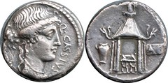 55BC 428/2 #9856-37 Q.CASSIVS Liberty Temple of Vesta Denarius