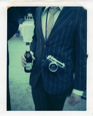 From the old school. (caballosblancos) Tags: blue wedding film beer polaroid tie joe suit electro expired 35 yashica 340 yashicaelectro35 669 fromtheoldschool