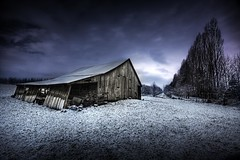 Hood River Valley Barn (Jeff Engelhardt) Tags: blue trees winter snow cold abandoned grass clouds oregon barn photoshop sunrise canon river twilight purple farm cyan violet orchard valley hood weathered distressed hdr highdynamicrange fushia photomatix 40d elenalovesthecolorfuscia frontpagepimpin