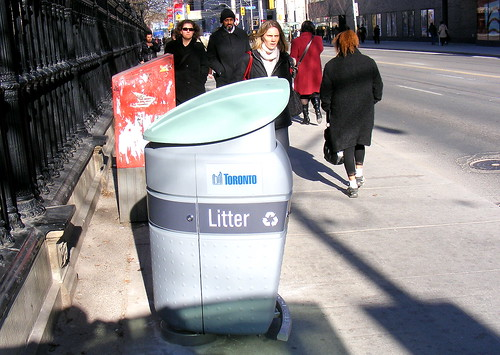 Garbage bin, N-E corner of Queen and University