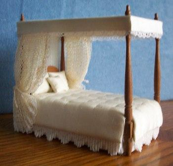 Hand Made Half Inch Scale Canopy Bed