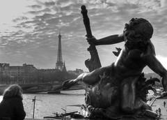 Threatening the Tower (fotopusch) Tags: bridge bw paris france seine river frankreich eiffeltower pontalexandre