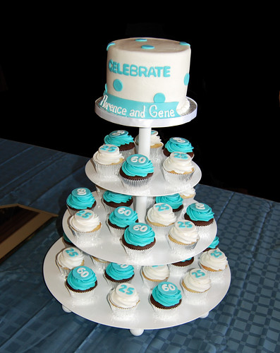 Tiffany Blue and White 25th wedding anniversary and 60th birthday cupcake tower