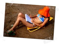 Bubi toma sol [mar 21] (JavierPsilocybin) Tags: woman girl hat pose geotagged reading mujer chair estudio patio bikini silla sombrero lectura trajedebao ceciliabeltrami geo:lat=29869206 geo:lon=71243833