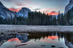 (Explored 4/4/2009) Half Dome reflection before Sunrise (Dave Toussaint (www.photographersnature.com)) Tags: california travel sunset vacation usa nature water canon reflections stars landscape photo amazing searchthebest picture photographers surreal halfdome 2009 soe yosemitevalley supershot kartpostal 40d overtheexcellence absolutelystunningscapes topazadjust photographersnaturecom davetoussaint davetoussaintcom hdryosemite homepagetile
