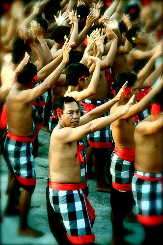 Men Participating In The Balinese Kecak Ceremony