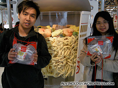 Mark and Meiyen with their completed cup noodle designs