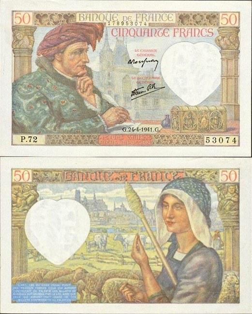 50 frankov Francúzsko 1941-42