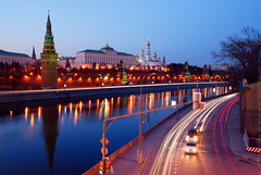 The Kremlin (Andrey Permitin) Tags: old blue architecture reflections nikon moscow hour lighttrails d200 russian kremlin