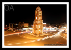 Clock Tower Sialkot (Omer_Arif) Tags: pakistan light tower clock night buildings square effects photography memorial long flickr shot estrellas shutter glowing omer arif oa sialkot iqbal aplusphoto addictedtophotograph