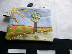 "little pouch ""a tree in the sun"" (monaw2008) Tags: handmade fabric patchwork applique monaw monaw2008"